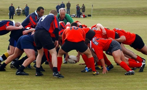 Rugby team scrumming
